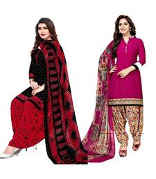 Mirraw Classique Black and Pink Crepe Printed Salwar Suits Unstitched Dress Material - Pack of 2