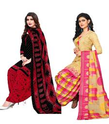 Mirraw Classique Black and Beige Crepe Printed Salwar Suits Unstitched Dress material with Dupatta Design 2 - Pack of 2