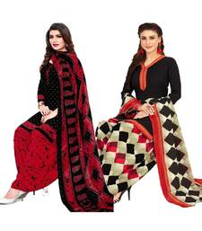 Mirraw Classique Black Crepe Printed Salwar Suits Unstitched Dress Material - Pack of 2