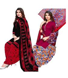 Mirraw Classique Black and Pink Crepe Printed Salwar Suits Unstitched Dress Material Design 2 - Pack of 2
