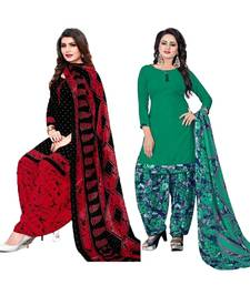 Mirraw Classique Black and Green Crepe Printed Salwar Suits Unstitched Dress Material - Pack of 2