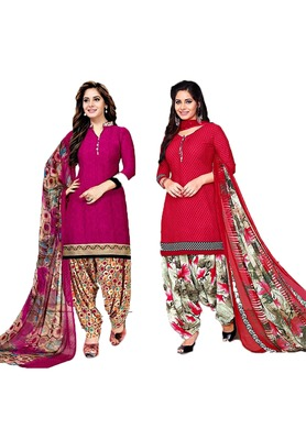 Mirraw Classique Pink and Red Crepe Printed Salwar Suits Unstitched Dress Material Design 3 - Pack of 2