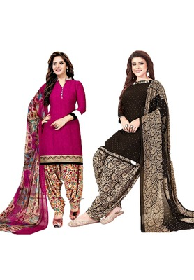 Mirraw Classique Pink and Brown Crepe Printed Salwar Suits Unstitched Dress Material - Pack of 2