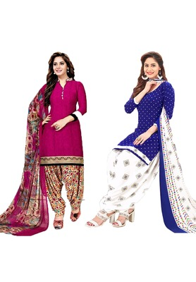Mirraw Classique Pink and Blue Crepe Printed Salwar Suits Unstitched Dress Material - Pack of 2