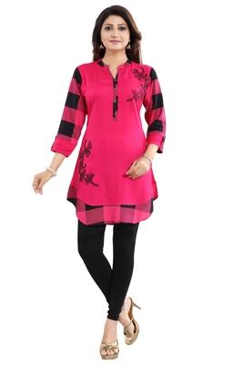 Pink embroidered rayon short-kurtis