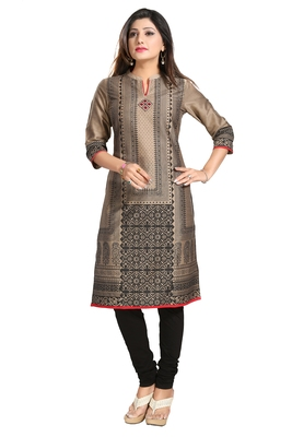 Beige printed cotton silk long-kurtis