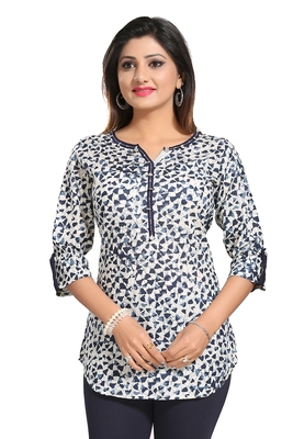 White printed cotton short-kurtis
