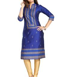 Blue printed cotton silk long-kurtis