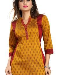 Yellow printed cotton silk short-kurtis