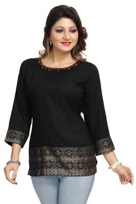 Black printed rayon short-kurtis