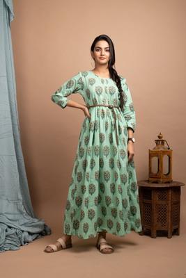 KAAJH Green Printed Cotton Anarkali Kurta