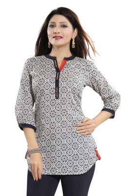 Cream printed cotton short-kurtis