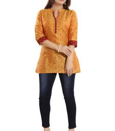 Yellow printed cotton silk short-kurtis