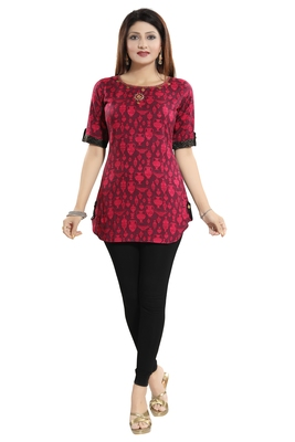 Magenta printed cotton short-kurtis