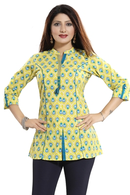 Yellow printed cotton short-kurtis