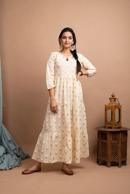 KAAJH Off White Printed Cotton Anarkali Kurta