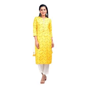 Yellow printed cotton kurtas-and-kurtis