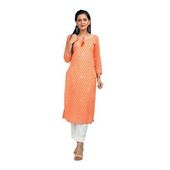 KAAJH Orange Leheriya Printed Cotton Kurta