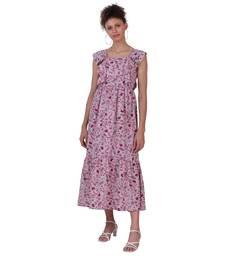PURPLE FLORAL PRINT POLYESTER WOMEN MAXI  DRESS
