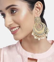 18k High Gold Matt Finish Plated Big Chandbali Kundan & Pearl Meenakari Earrings for Women (E2860FL)