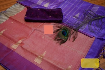 Purple And Coral Colored Vaalai Silk Saree With Blouse