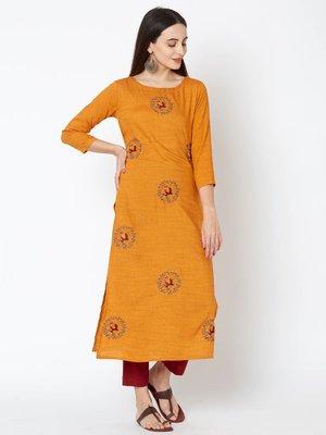Orange embroidered rayon kurtas-and-kurtis