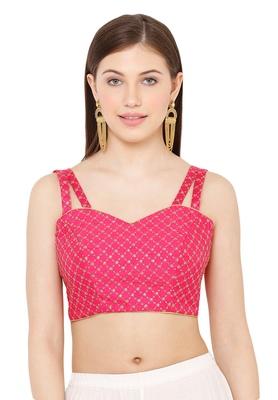 Salwar Studio Women's Tomato Pink Dupion Silk Readymade Saree Blouse