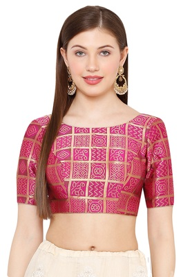 Salwar Studio Women's Pink Brocade Readymade Saree Blouse