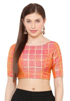 Salwar Studio Women's Light Pink Brocade Readymade Saree Blouse