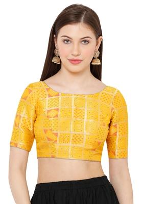 Salwar Studio Women's Yellow Brocade Readymade Saree Blouse