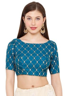 Salwar Studio Women's Sky Blue Silk Readymade Saree Blouse