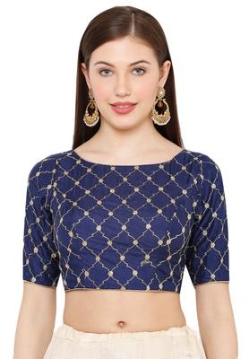 Salwar Studio Women's Navy Blue Silk Readymade Saree Blouse