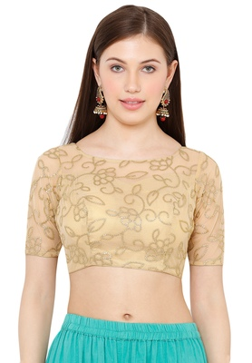 Salwar Studio Women's Gold Net Readymade Saree Blouse