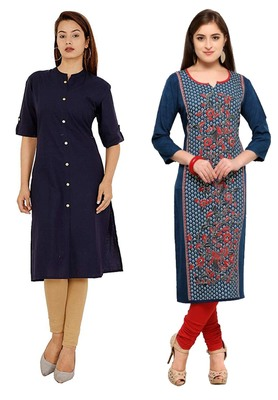 Mirraw Classiques Plain Navy Blue Regular And Blue-Red Printed Crepe Cotton Stitched Kurtis ( Pack of 2 )