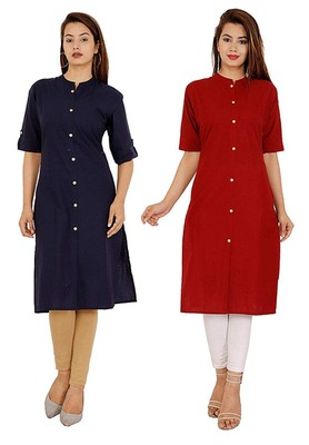 Mirraw Classiques Plain Navy Blue And Red Regular Cotton Stitched Kurtis ( Pack of 2 )