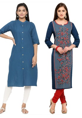 Mirraw Classiques Plain Blue Regular And Blue-Red Printed Crepe Cotton Stitched Kurtis ( Pack of 2 )
