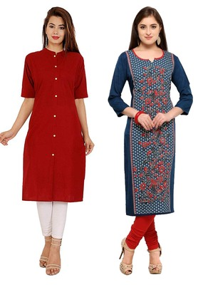 Mirraw Classiques Plain Red Regular And Blue-Red Printed Crepe Cotton Stitched Kurtis ( Pack of 2 )