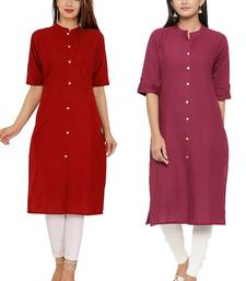 Mirraw Classiques Plain Red And Pink Regular Cotton Stitched Kurtis ( Pack of 2 )