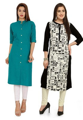 Mirraw Classiques Plain Turquoise Regular And Black-White Printed Crepe Cotton Stitched Kurtis ( Pack of 2 )