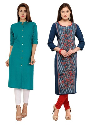Mirraw Classiques Plain Turquoise Regular And Blue-Red Printed Crepe Cotton Stitched Kurtis ( Pack of 2 )