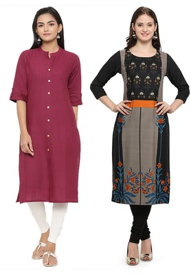 Mirraw Classiques Plain Pink Regular And Black Printed Crepe Cotton Stitched Kurtis ( Pack of 2 )