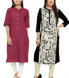Mirraw Classiques Plain Pink Regular And Black-White Printed Crepe Cotton Stitched Kurtis ( Pack of 2 )