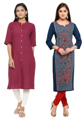 Mirraw Classiques Plain Pink Regular And Blue-Red Printed Crepe Cotton Stitched Kurtis ( Pack of 2 )
