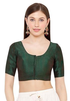Salwar Studio Women's Dark Green Mulbury Silk Readymade Saree Blouse