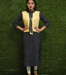 Women Black Kurti With Yellow Jacket