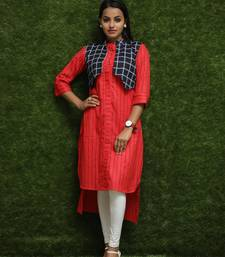 Women Red Kurti With Blue Jacket