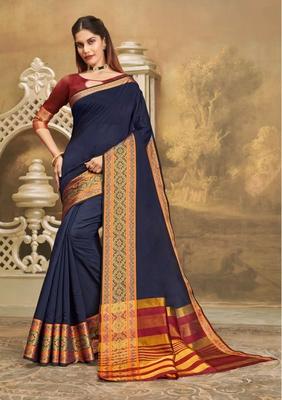 Blue woven khadi saree with blouse