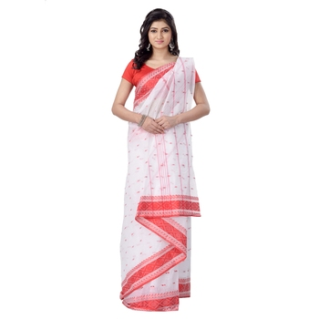 White hand woven cotton saree