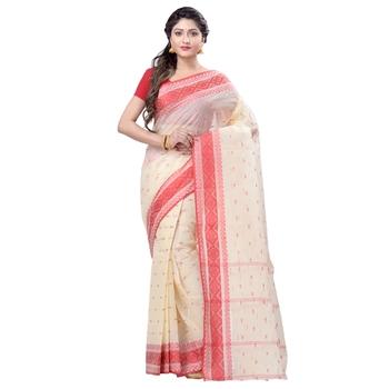 Cream hand woven cotton saree