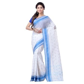 Aqua blue hand woven cotton saree